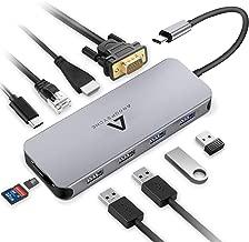 2 USB 2.0 VGA TSUPY HUB USB C RJ45 Ethernet Lector de Tarjeta SD//TF para Dispositivos Type C con DP ALT Modo 2 USB 3.0 10 Puertos Adaptador USB C con HDMI 4K USB C PD Carga