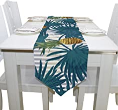 Aideess Hawaiian Tropical Pineapple Fruit Polyester Table Runner Placemat 13 x 90 inch, Home Table Top Decoration Table Linens Cloth for Office Kitchen Dining Wedding Party