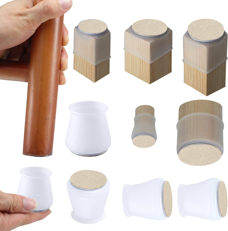 Silicone Chair Leg Floor Protectors w/Felt Chair Leg Caps Silicon Furniture Leg Feet Cover Slide Protect Wooden Floor No Scratches Table Leg Caps 16Pcs (Medium Fit: 1.2
