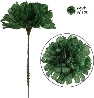 Larksilk Emerald Green Silk Carnation Picks, Artificial Flowers for Weddings, Decorations, DIY Decor, 100 Count Bulk, 3.5