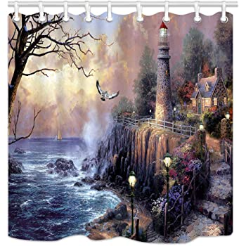 Fabric Shower Curtain Set Seaside Wooden Walkway Lighthouse Bathroom Decor Hooks