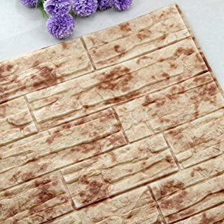 NHsunray 3D Brick Wall Panels,Soft PE Foam Peel and Stick Self Adhesive Wallpaper Perfect for Kitchen Living Room Bedroom Sofa Background Restaurant Wall Decoration (36, Red Spots)