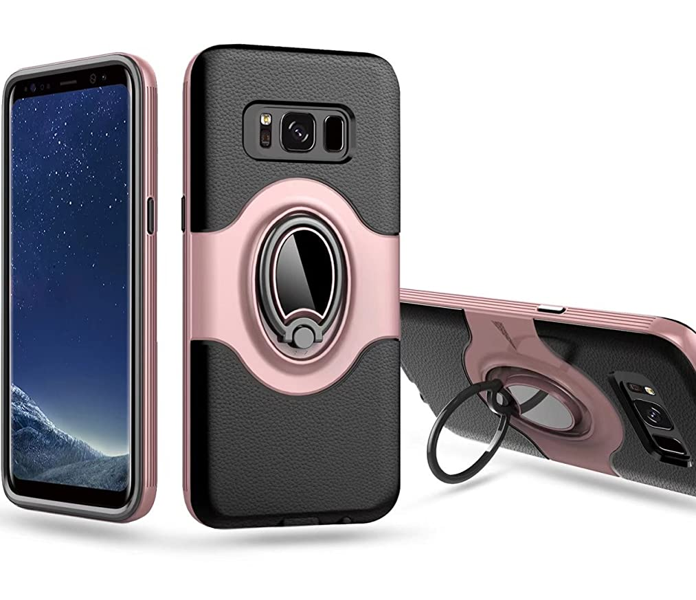 Galaxy S8 Plus Case, Ranyi [Full Body Ring Armor] [Shock Absorbing] Hybrid Bumper + 360 Degree Rotating Ring Stand 2 In 1 Protective Rugged Case for Samsung Galaxy S8+ Plus (2017), rose gold