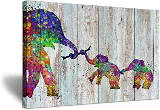 ZingArts Vintage Funny Animal Wall Art Colorful Elephant Family Illustration Art Painting Print On Wood Background Picture Stretched and Framed for Home Living Room Decoration Ready to Hang 24x36inch