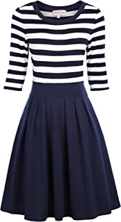 Belle Poque Women's Classy Scoop Neck Striped Retro Swing Dress