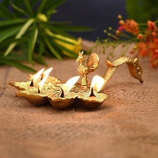CraftVatika Metal Pancharti Diya Oil Lamp Panch Arti Brass Diya, Arti Diya with Handle for Mandir, Panch Deepak Aarti for ...