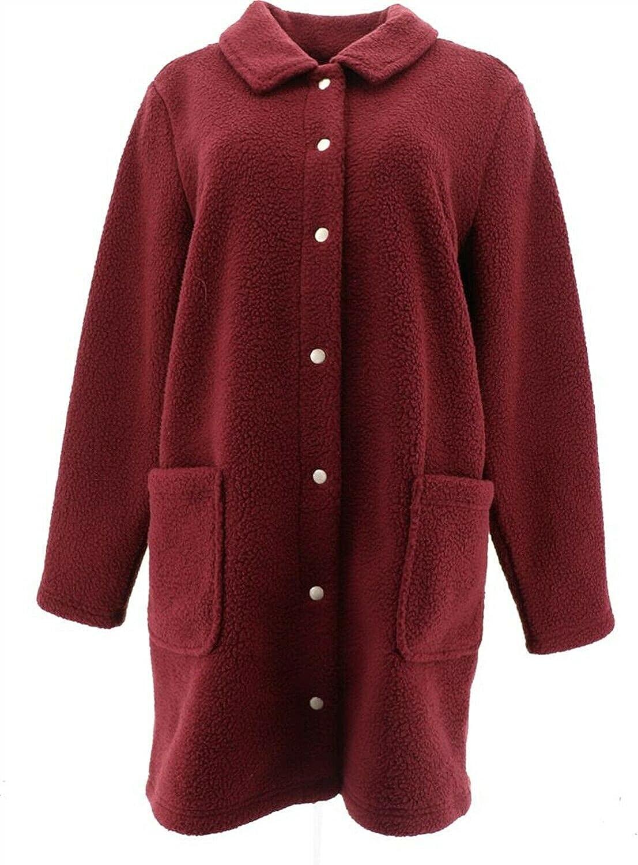 Denim& Co Sherpa Bonded Fleece Snap Jacket A372275