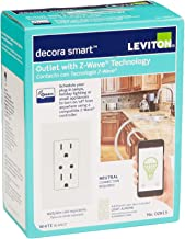 Leviton DZR15-1RZ Decora Z-Wave Controls 15-Amp Tamper Resistant Split Duplex Receptacle, White/Ivory/Light Almond
