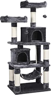 Yaheetech Cat Tree Condo Kitten Tower Play House with a Extra-Large Scratching Board, Cozy Perches 57in