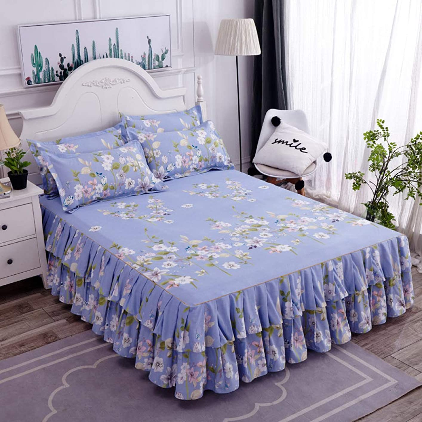 独裁者仮説ムスタチオ夏のベッドカバーフリルライトベッドスカート無地装飾ボード3枚セット,A-150CM*200CM
