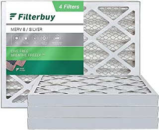 FilterBuy 20x24x2 MERV 8 Pleated AC Furnace Air Filter, (Pack of 4 Filters), 20x24x2 - Silver