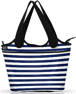 Beach Bag Tote | Neoprene & Canvas Womens Totes | Internal Zippered Pocket | Women Summer Essentials Beach Accessories, Pool, Gym, Kids Toys | Bonus Waterproof Cellphone Case (Striped)