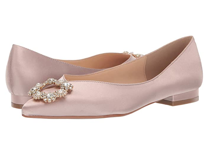 Edwardian Shoes & Boots   Titanic Shoes Blue by Betsey Johnson Diana Flat Nude Satin Womens Flat Shoes $44.55 AT vintagedancer.com