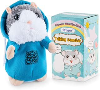 Qrooper Talking Hamster Repeats What You Say, for Boys Girls or Pets,Repeating Hamster Interactive Toys with Talking Back Function,Special Kids Toys for 2 3 4 5 Years Old