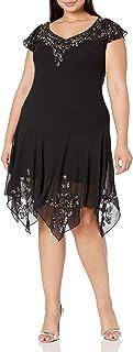 J Kara womens Flutter Sleeve Hanky Hem Short Cocktail Beaded Dress Special Occasion Dress