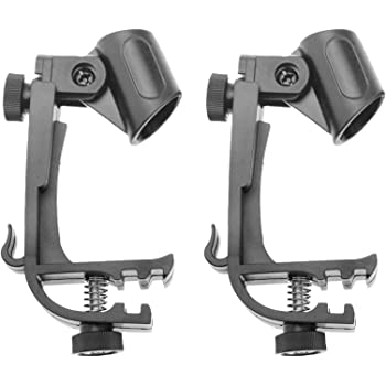 2x Adjustable Clip On Drum Rim Shock Mount Microphone Mic Clamp Holder Black