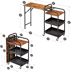 HOMURY Folding Bar Cart Serving Cart with Storage, Built-in Bottle Holder Rack, 3-Tier Kitchen Utility Cart with Casters with Brakes