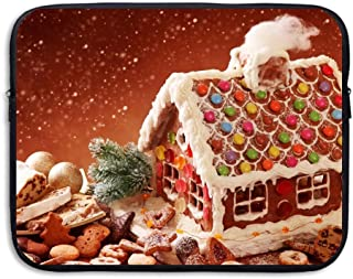 Laptop Sleeve Case Protective Bag Gingerbread House And Christmas Cookies Printed Ultrabook Briefcase Sleeve Bags Cover For 15 Inch Macbook Pro/Notebook/Acer/Asus/Lenovo Dell/Women/Men