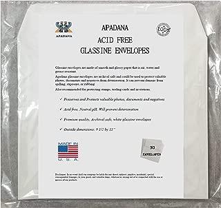 Apadana Acid Free Glassine Envelopes 30 Bags 9 1/2 x 11 Inches