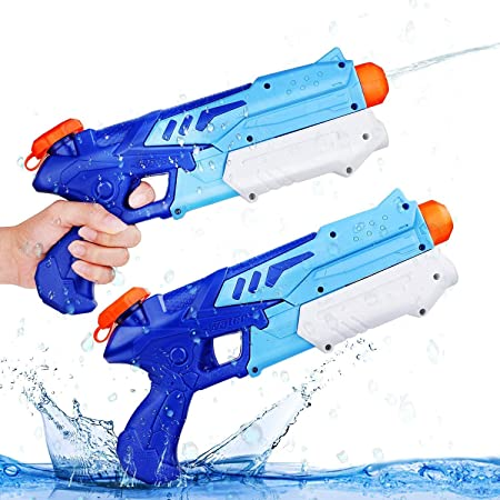 Ucradle 2 Pistole ad Acqua Bambini, Pistola Acqua per Bambini e Adulti Estivi All'aperto per Divertimento, 300ML Pistola Acqua Giocattolo per Feste e Piscina all'aperto, Gamma di 9 Metri