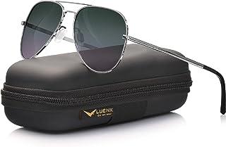 نظارات شمسية بعدسات مستقطبة للرجال من لونكس بحماية من الاشعة فوق البنفسجية بطول موجي 400 نانومتر وحافظة، 60 ملم