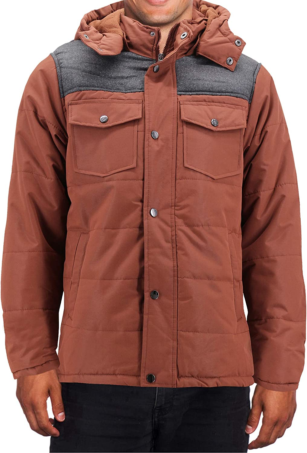 Men's Heavyweight Water And Wind Resistant Removable Hood Insulated Jacket