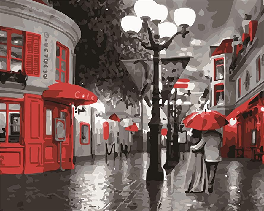 Diy Oil Painting Paint by Number Kit for Adults Beginner 16x20 inch - Romantic Rainy Street and Couple, Drawing with Brushes Christmas Decor Decorations Gifts (Without Frame)