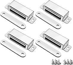 Magnetische deurvangst, 20KG Pull sterke kast kast kasten magneten 4 Pack, Heavy Duty RVS Garderobe Klokken met schroeven ...