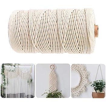 100 metros de cuerda de algodón blanco y beige, cuerda trenzada natural para manualidades, macramé, manualidades, decoración del hogar, beige, 1mm x 100meters: Amazon.es: Hogar