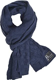 Mens Thick Knitted Plaid Long Winter Scarf Shawl