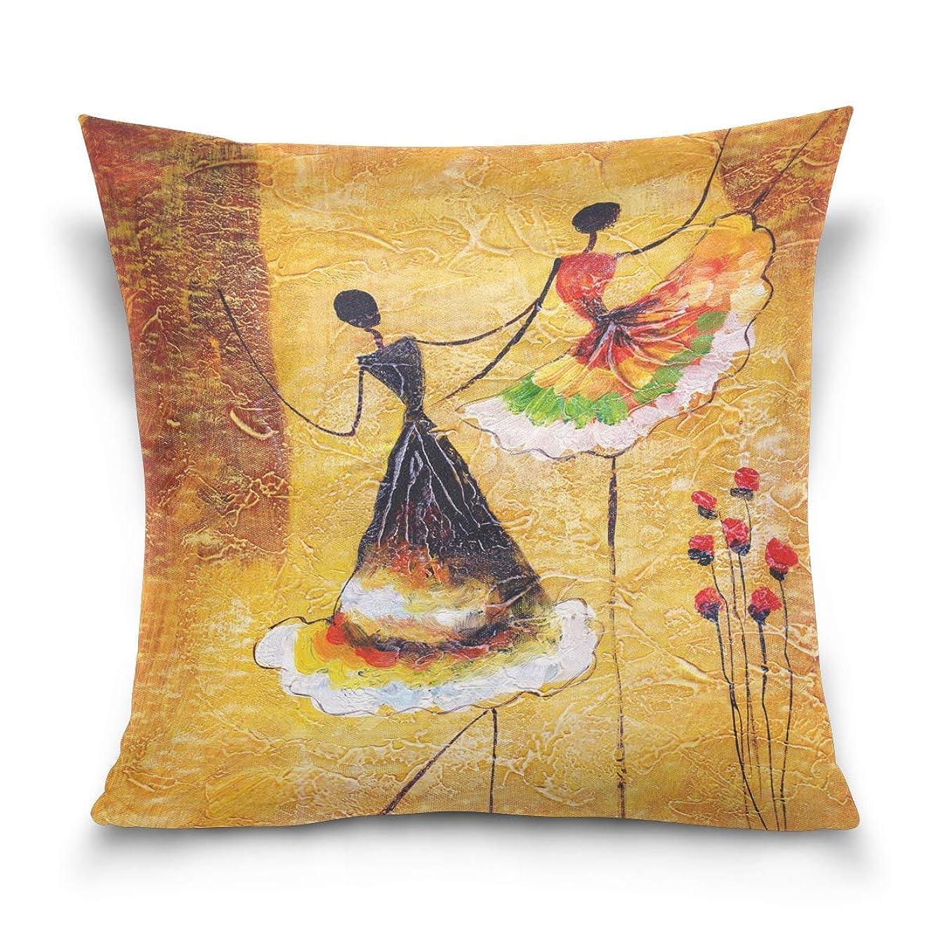 告白する編集する望ましい枕カバーを投げる装飾的なクッションカバー正方形の枕カバー、スペインのダンサー油絵ケシの花ソファベッド枕カバー45 x 45cm