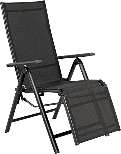 popular Giantex Reclining Patio Chairs Folding Lounge Chair 7 Positions Mesh Lawn Chairs Adjustable Backrest Outdoor Recliners Aluminum 2021 Frame Porch Furniture (1, sale Gray) outlet sale
