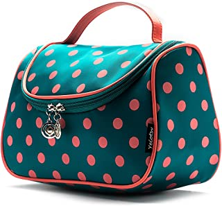 Cute Travel Makeup Bag, Yeiotsy Cute Polka Dots Toiletry Bag with Handle for Girls Cosmetic Organizer for Women (Lake Blue)