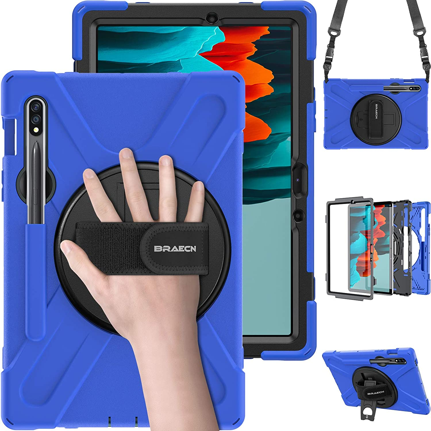 BRAECN Galaxy Tab S7 Case 2020, Heavy Duty Protective Tablet Case Cover with Adjustable Hand Strap, S Pen Holder, Shoulder Strap, Kickstand for Samsung Tab S7 11 Inch 2020 Release SM-T870/SM-T875-Blue