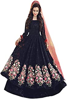FotoableArc Women's Black Color Embroidery semi-stiched Dress Material salwar suit for women
