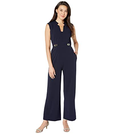 Tahari by ASL Petite Notch Neck Crepe Jumpsuit w/ Side Buckle Hardware Detail (Navy) Women