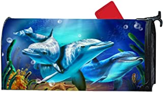 Cute Dolphins Smile Magnetic Mailbox Cover Standard Mailbox Wrap Garden Decorative 6.5 x 19 Inches