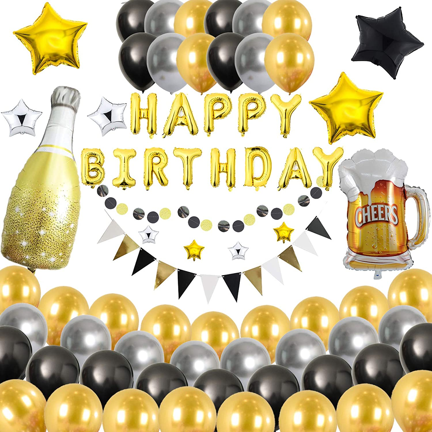 Birthday Party Decoration for Adult Happy Birthday Banner Black and White Balloons Party Supplies with String Light for Men and Women All Total 60 Pcs