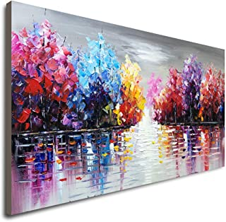 Hand Painted Lake Landscape Canvas Wall Art with Colorful Tree Thick Texture Oil Painting Abstract Artwork (48 x 24 inch)
