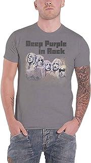 Deep パープル T Shirt In Rock 2017 Band Logo 新しい 公式 メンズ Charcoal