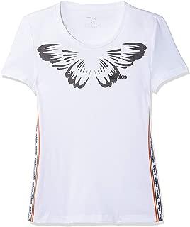 adidas Women's W FARM PRINT T-Shirt, White/Black, X-Large, 20-22