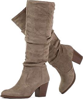 Women's Stacked Heel Slouchy Knee High Boots (Slim Calf)
