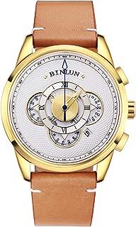 Men's Watch Sports Chronograph Unique Stylish Designer Quartz Leather Wrist Watches for Men with Calendar Date