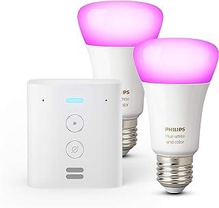 Echo Flex + Lampadine intelligenti a LED Philips Hue White & Color Ambiance, confezione da 2 lampadine, compatibili con Bl...