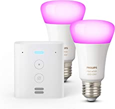 Echo Flex + Philips Hue White & Color Ambiance Pack de 2 bombillas LED inteligentes, compatible con Bluetooth y Zigbee, no...