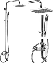 Exposed Shower System Polish Chrome 3 Functional Bathroom Shower Set 8 Inch Square Rainfall Shower Head with Wall Mounted
