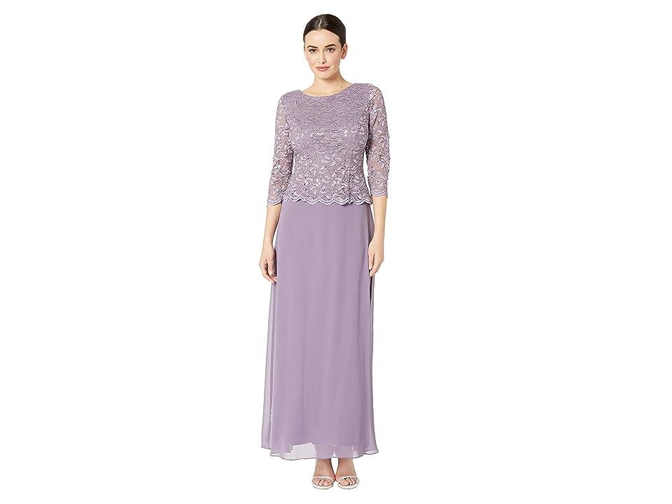 0e1245b4928d Alex Evenings Long Sequin Lace Mock Dress (Icy Orchid) Women's Dress