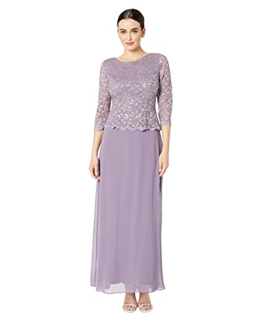 Alex Evenings Long Sequin Lace Mock Dress (Icy Orchid) Women