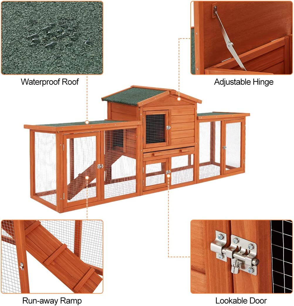 Buy Esright 20'' Large Rabbit Hutch, Large Chicken Coop, Wooden ...
