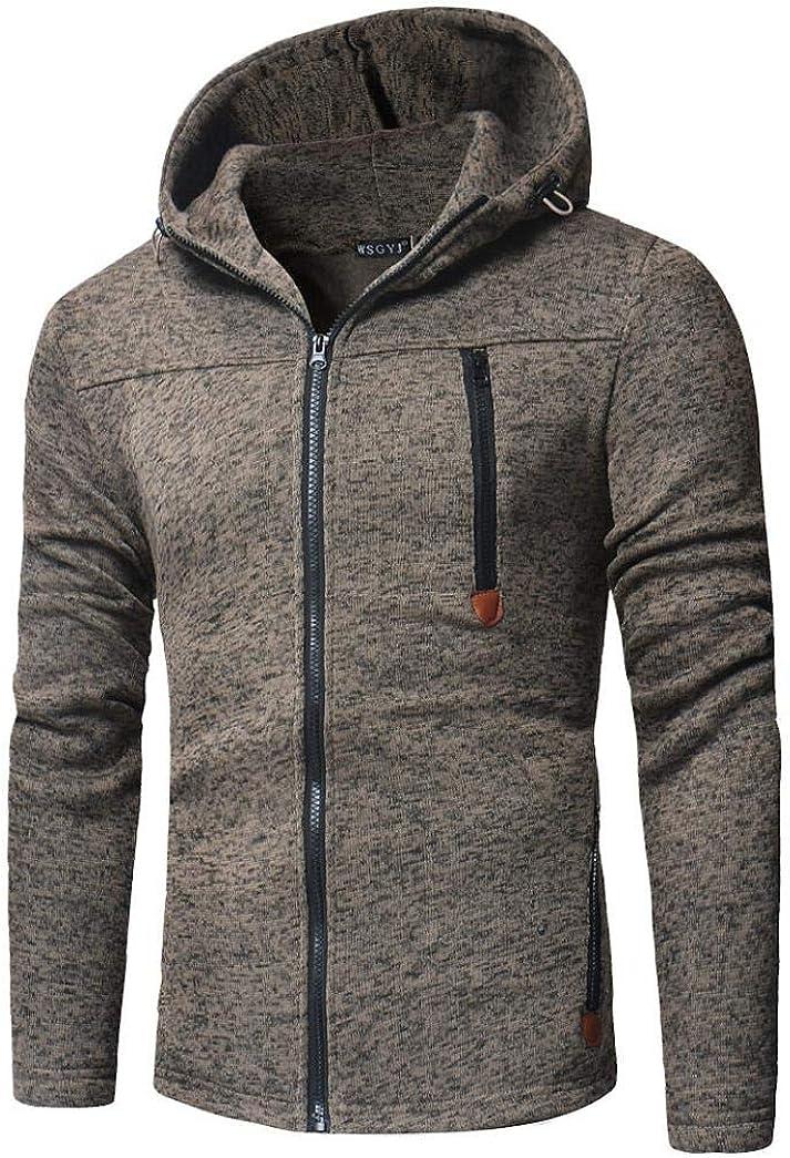 WUAI Mens Long Sleeve Hooded Sweatshirt with Zipper Pocket Slim Fit Lightweight Zip up Hoodie Jacket